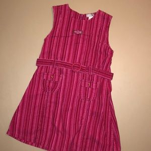 Pink striped corduroy dress w/belt and pockets